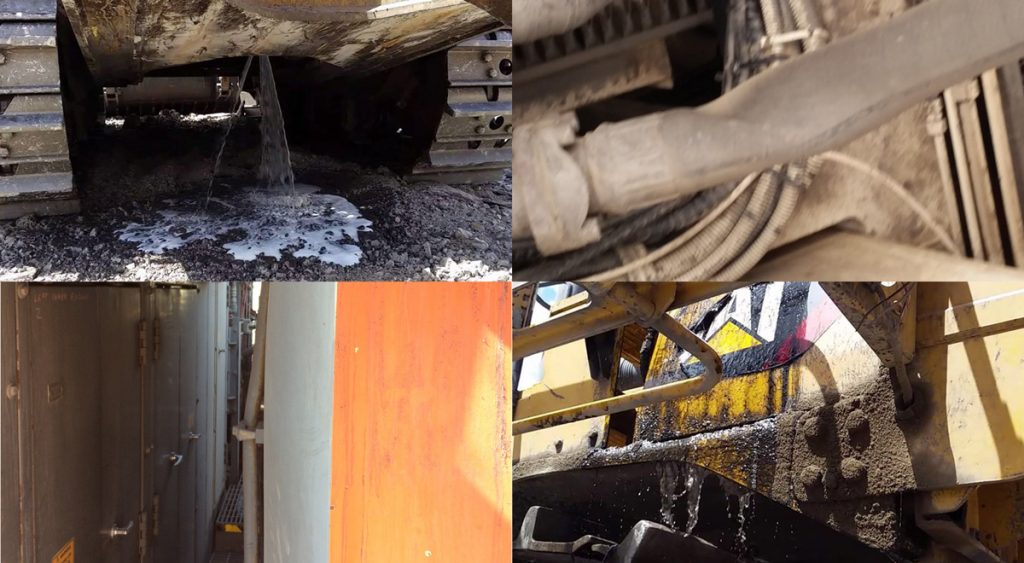 Pressure and vacuum damage to tanks and refuelling systems: (clockwise from top-left) ruptured excavator tank, collapsed pipe from vacuum, diesel flowing around hot engine components after overfill, large tank distorted from pressure to such a degree that an access passageway is blocked
